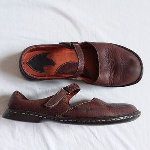Born Mahogany Brown Flat Mary Jane Shoes 10
